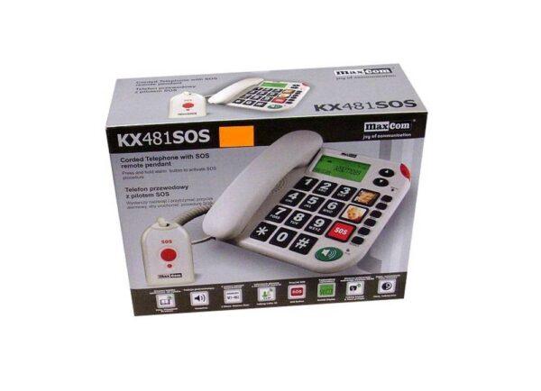 Σταθερό Τηλέφωνο Maxcom KXT481 με Μεγάλα με κουμπί SOS Πλήκτρα,Οθόνη..