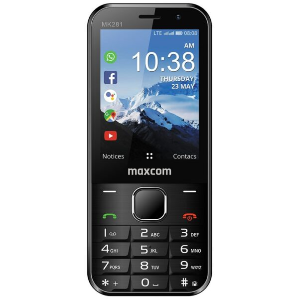 Maxcom MK281 KaiOS 2.8 512MB-4GB 4G VoLTE, VoWiFi με Εφαρμογές, Κάμερα, Bluetooth, Φακό και Ραδιόφωνο Μαύρο