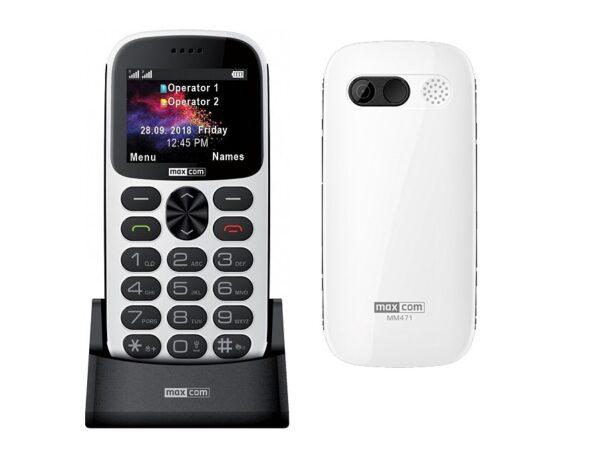 Maxcom MM471 Dual SIM 2.2 με Μεγάλα Πλήκτρα, Βάση Φόρτισης, Bluetooth, Ραδιόφωνο, Φακό, Κάμερα και Πλήκτρο Έκτακτης Ανάγκης Λευκό