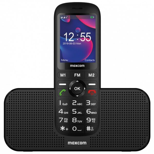 Maxcom MM740 2.4 με Bluetooth 5.0, Ραδιόφωνο, Πλήκτρο Έκτακτης Ανάγκης και Βάση-Ηχείο Μαύρο